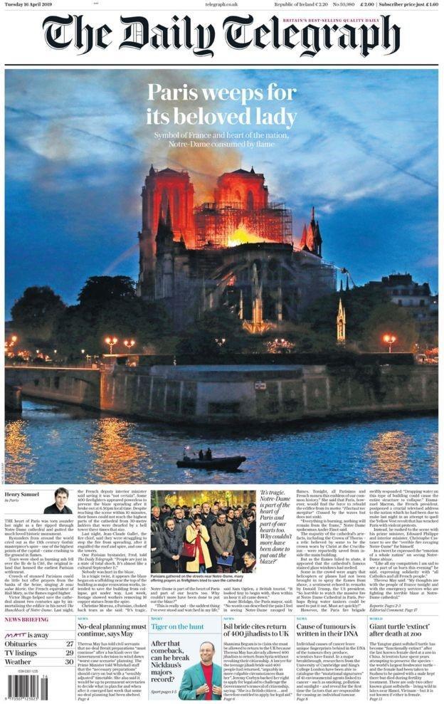 法國巴黎聖母院發生嚴重火灾